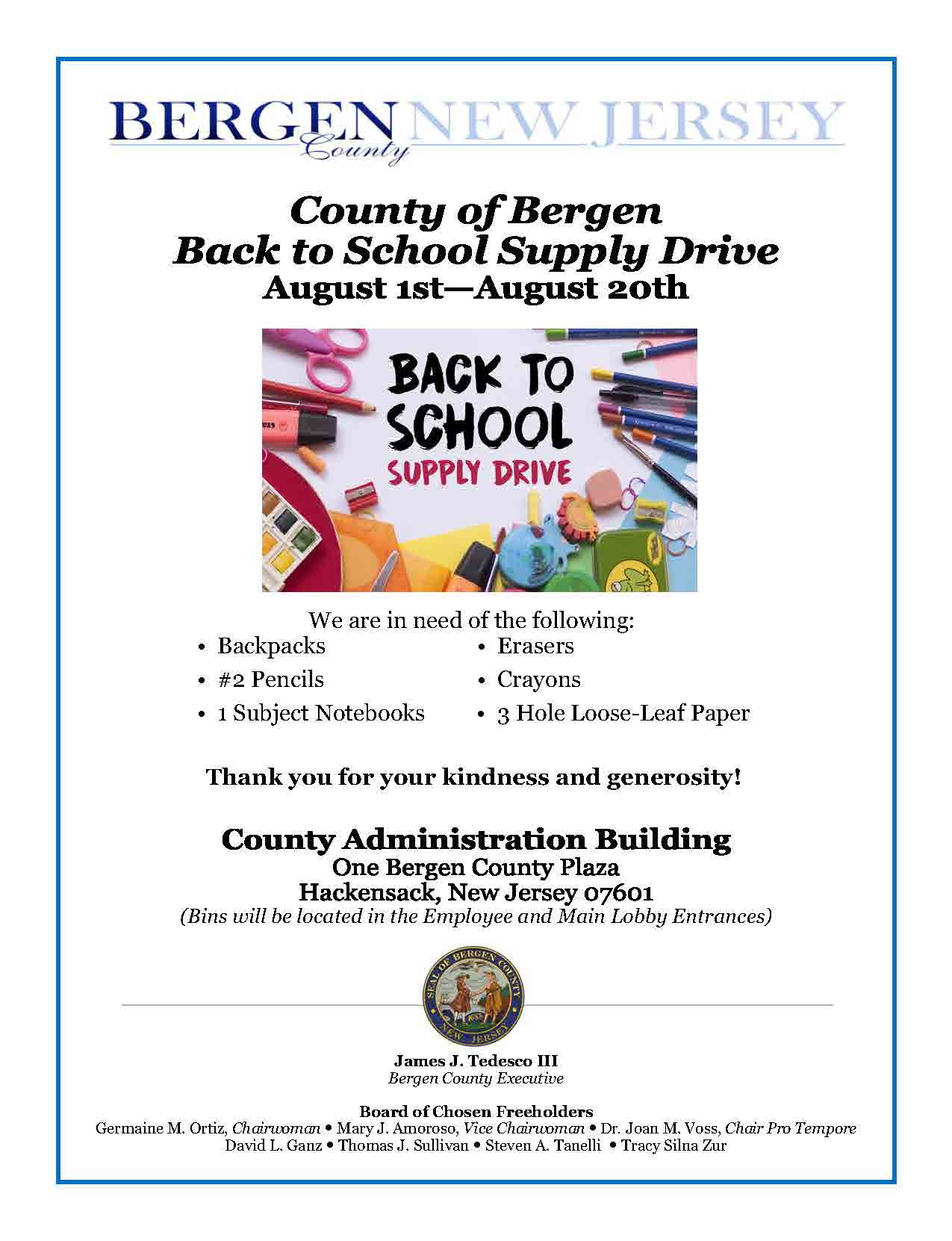 Back to School Supply Drive Flyer